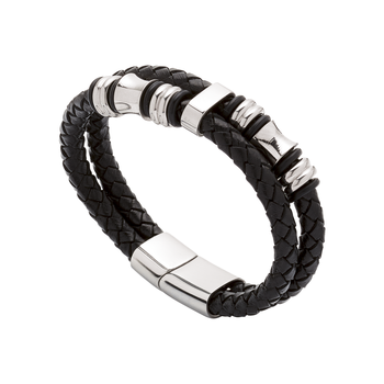 Pulsera Doble Silver Black